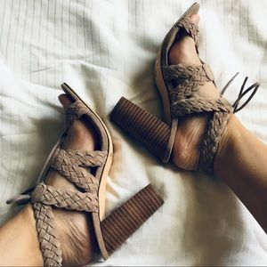 Braided open toe block heels with laces